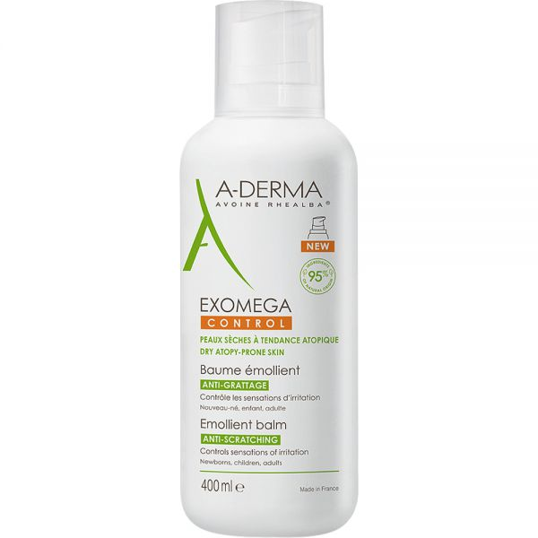 A-derma Exomega Control Balm 400 ml intensiv pleie for svært tørr hud, Apotekfordeg, 843213