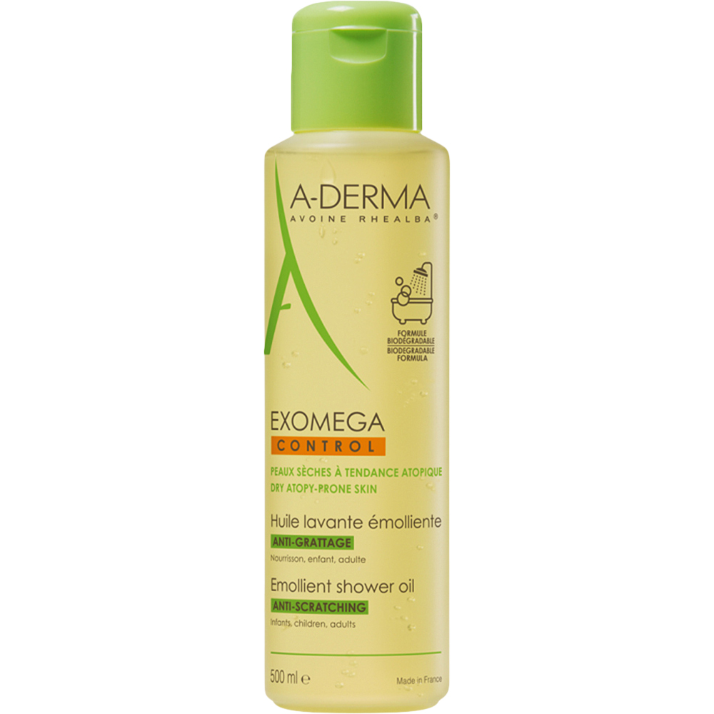 A-derma Exomega Control Shower Oil 500 ml for tørr og atopisk hud, Apotekfordeg, 853914