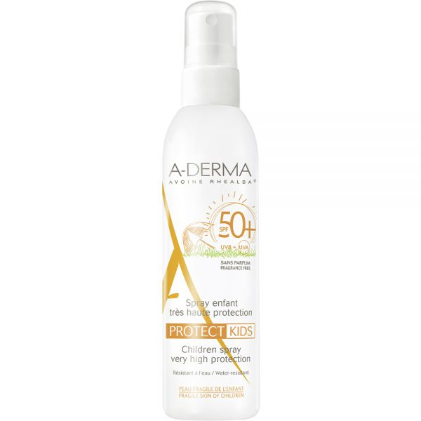 A-derma Sun Protect Spray SPF50+ 200 ml - solspray til sensitiv barnehud, Apotekfordeg, 998640