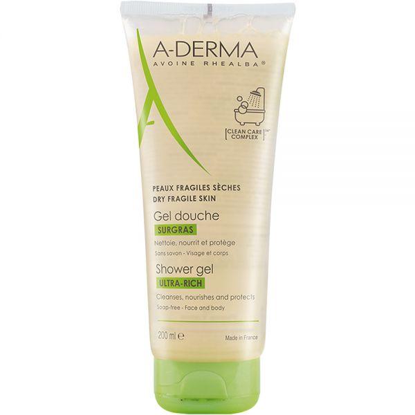A-derma Ultra Rich Shower Gel 200 ml for tørr og sensitiv hud, Apotekfordeg, 810026