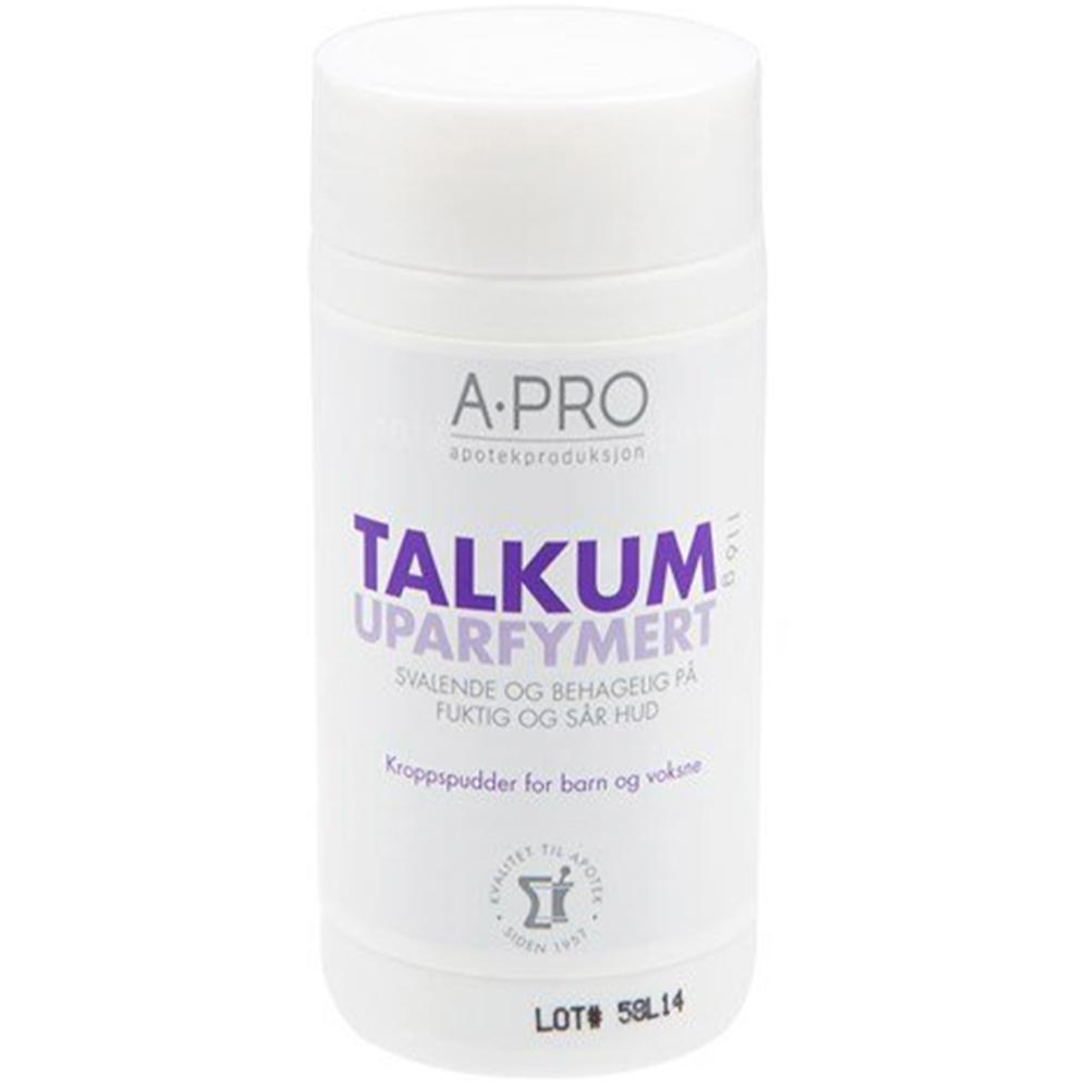 Apro talkum uten parfyme for svalende effekt på fuktig og klam hud 116g, Apotekfordeg, 800921