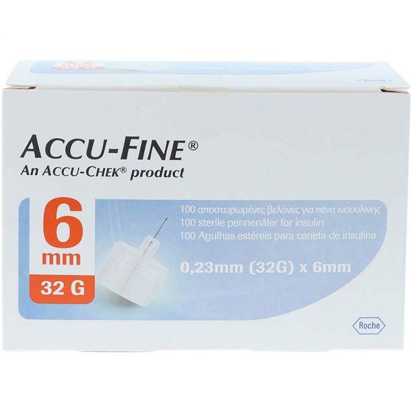 Accu-Fine pennekanyler 32G 6mm 100stk, ApotekForDeg, 964146