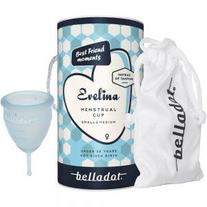 Belladot Evelina Menstrual Cup S:M 1 stk, gjenbrukbar mensbeskyttelse, Apotekfordeg, 948419