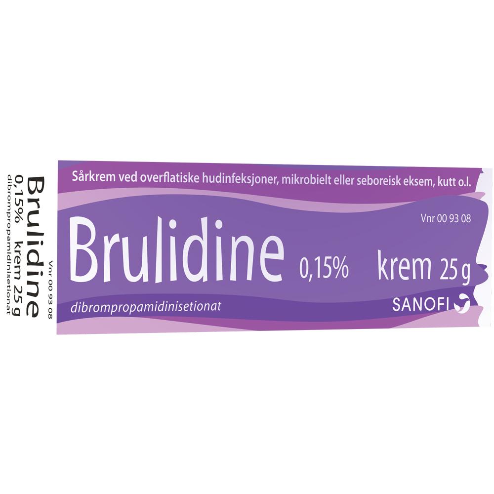 Brulidine sårkrem ved overflatiske hudinfeksjoner, mikrobielt eller seboreisk eksem, kutt o.l., Apotekfordeg, 9308