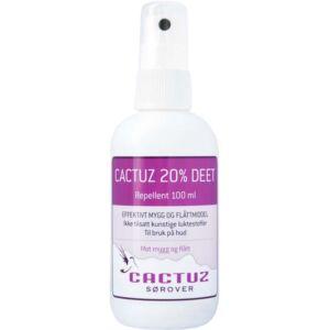 Cactuz 20% DEET, spray til huden mot mygg og flått 100 ml, Apotekfordeg, 904216