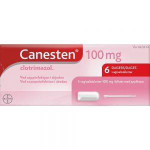 Canesten 100 mg Vaginaltabletter m:Applikator 6 stk, ved soppinfeksjon i skjeden, Apotekfordeg, 65314