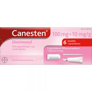 Canesten 100 mg Vaginaltabletter og 1% Krem 6+20 g ved sopp i og rundt skjeden, Apotekfordeg, 416982
