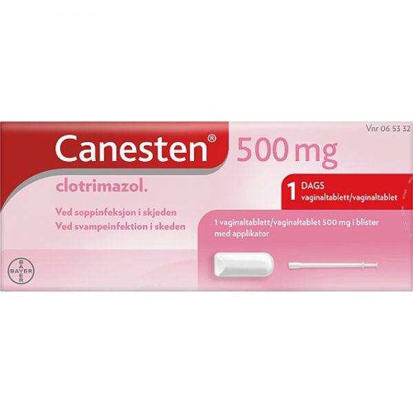 Canesten 500 mg Vaginaltablett m:Applikator 1 stk ved soppinfeksjon i skjeden, Apotekfordeg, 65332