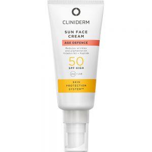 Cliniderm age defence sun face cream spf50+, høy solbeskyttelse med anti-age effekt, 40ml, ApotekForDeg, 907191