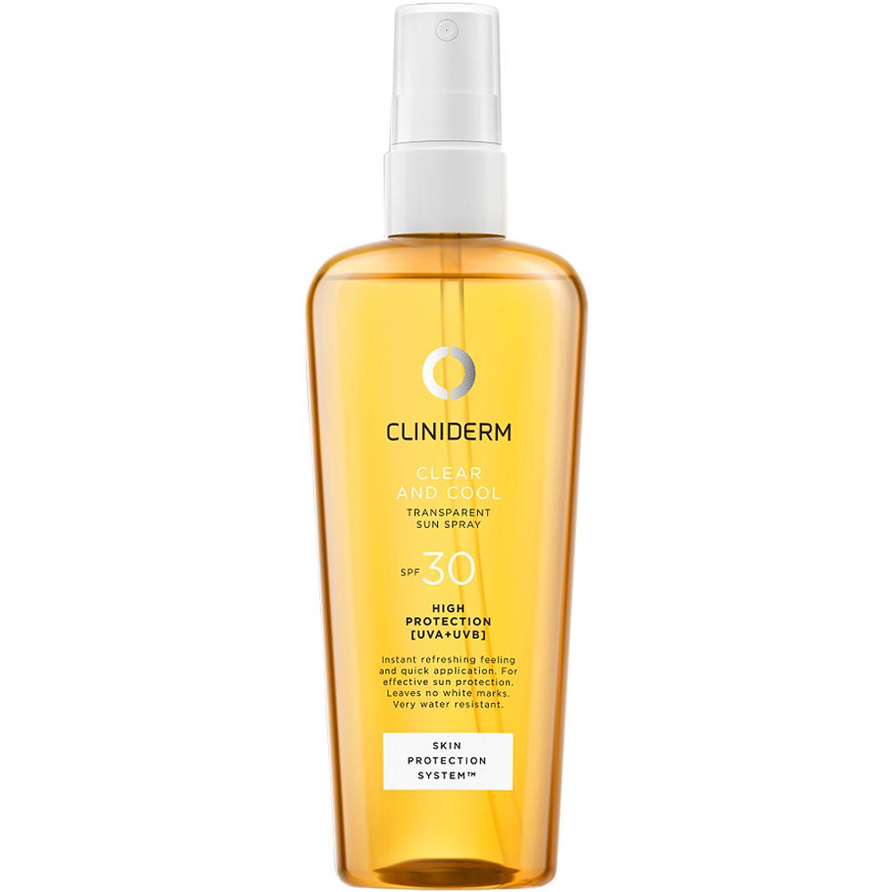 Cliniderm sun clear & cool sun spray spf30, transparent solspray med høy solbeskyttelse,150ml, ApotekForDeg, 917075