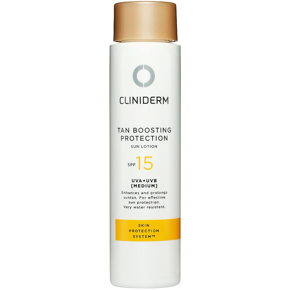 Cliniderm tan boosting protection sun lotion spf15, lett solbeskyttelse for økt melaninproduksjon, 150ml, ApotekForDeg, 903992