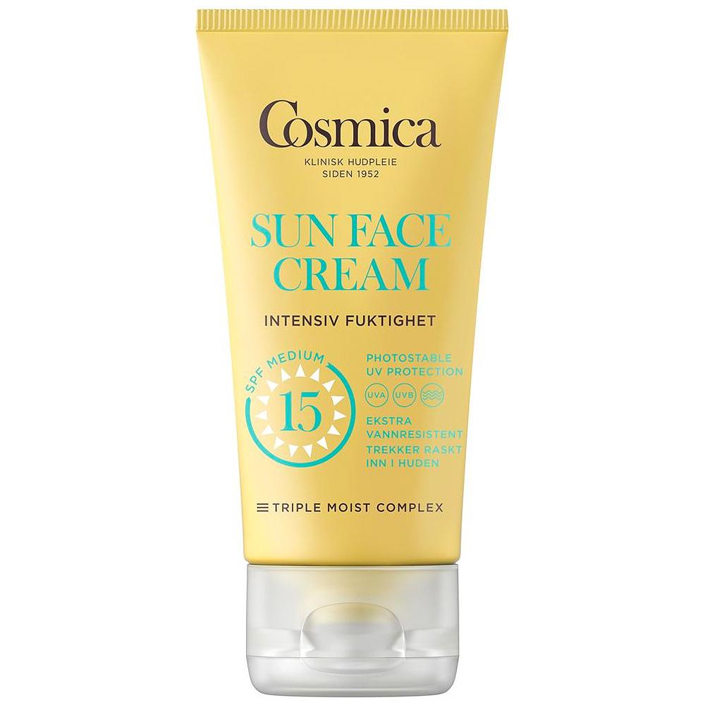 Cosmica sun face cream intensive moisture SPF15, solkrem til ansikt uten parfyme, 50 ml, ApotekForDeg, 934722
