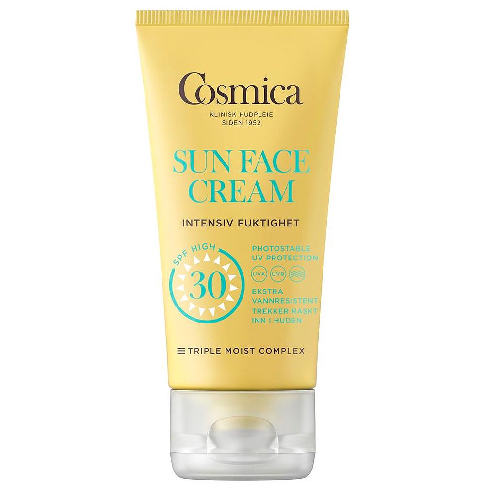Cosmica sun face cream intensive moisture SPF30, solkrem til ansikt uten parfyme, 50 ml, ApotekForDeg, 997541