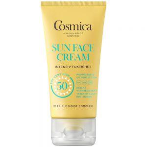 Cosmica sun face cream intensive moisture SPF50+, solkrem til ansikt uten parfyme, 50 ml, ApotekForDeg, 801827