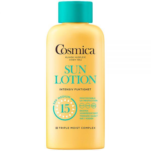 Cosmica sun lotion intensive moisture SPF15, solkrem til kropp uten parfyme, 200 ml, ApotekForDeg, 916767