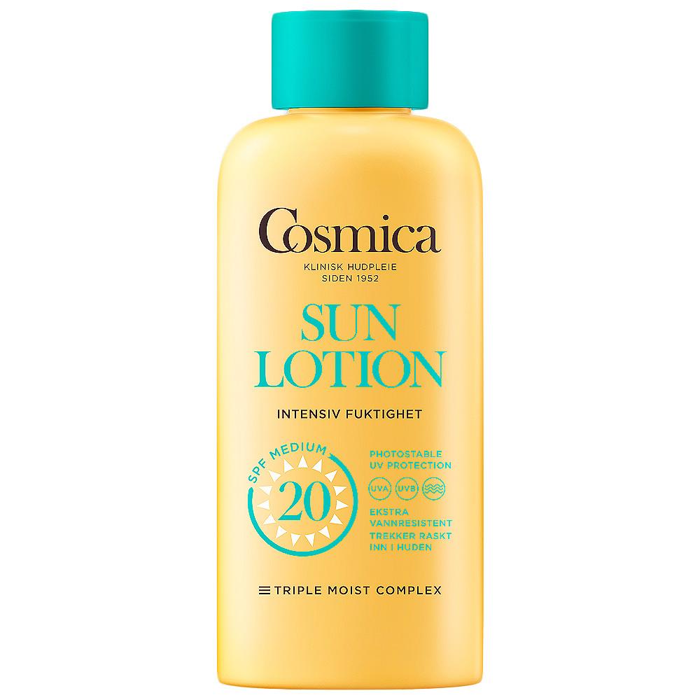 Cosmica sun lotion intensive moisture SPF20, solkrem til kropp uten parfyme, 200 ml, ApotekForDeg, 801644