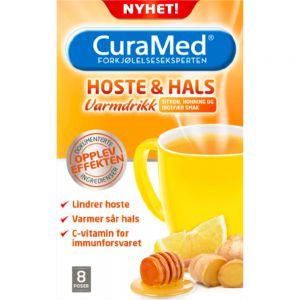 Curamed Hoste & Hals Varmdrikk 8 porsjonsposer - med sitron, honning og ingefær, Apotekfordeg, 802210