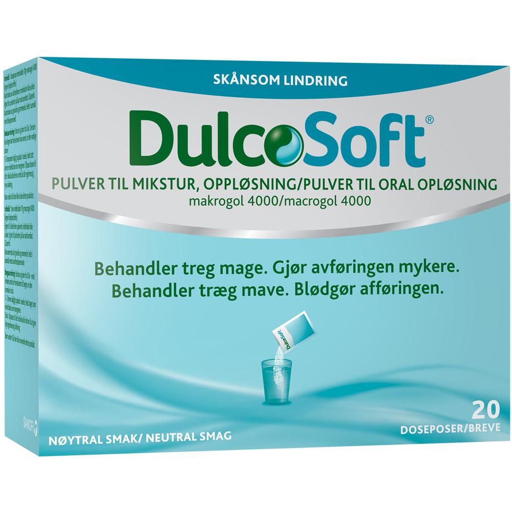 DulcoSoft pulver til mikstur som behandler treg mage, Apotekfordeg, 947061
