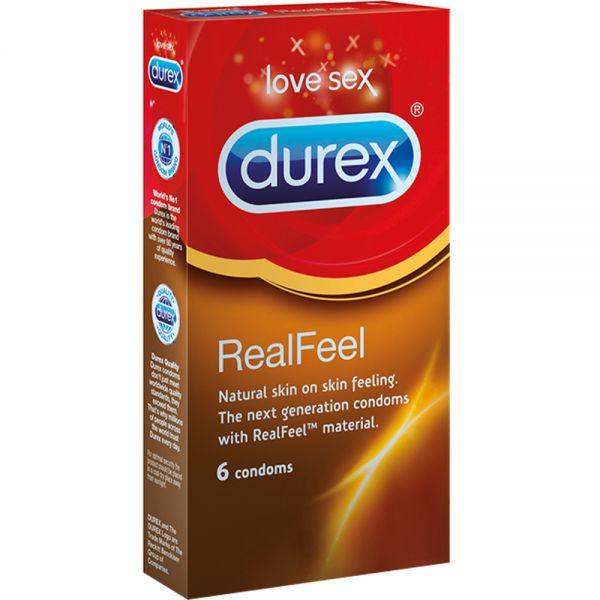Durex Real Feel Lateksfrie Kondomer 6 stk for økt følsomhet, Apotekfordeg, 918463