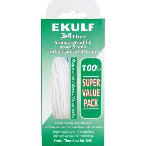Ekulf 3-i-1 Tanntråd 100 stk, ApotekForDeg, 939535