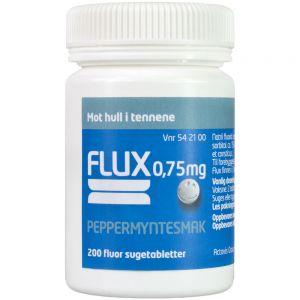 Flux 0,75 mg Sugetabletter Peppermynte 200 stk, ApotekForDeg, 542100