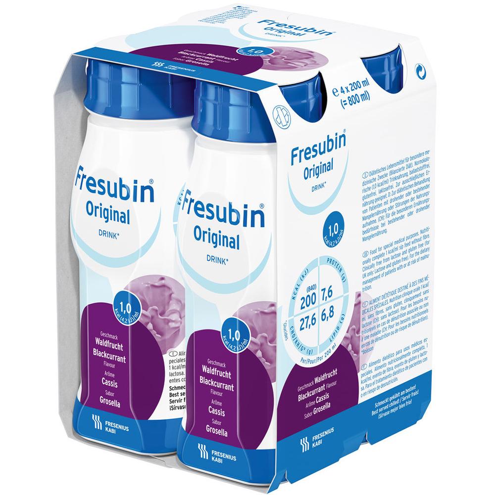 Fresubin Original Drink Solbær 4×200 ml komplett næringsdrikk, Apotekfordeg, 954175