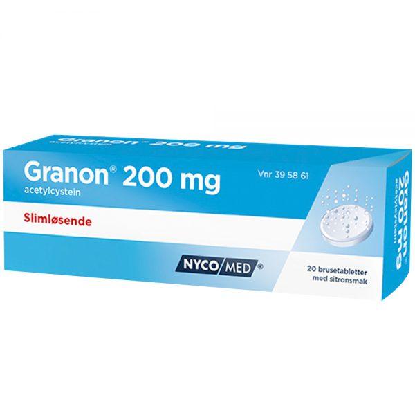 Granon 200mg brusetabletter, slimløsende legemiddel til voksne og barn over 6 år, Apotekfordeg, 395861