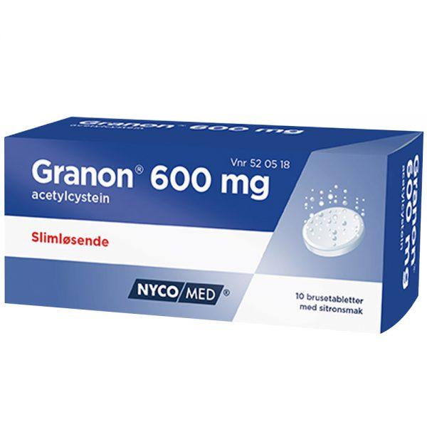 Granon 600mg brusetabletter, slimløsende legemiddel til voksne over 18 år, Apotekfordeg, 520518