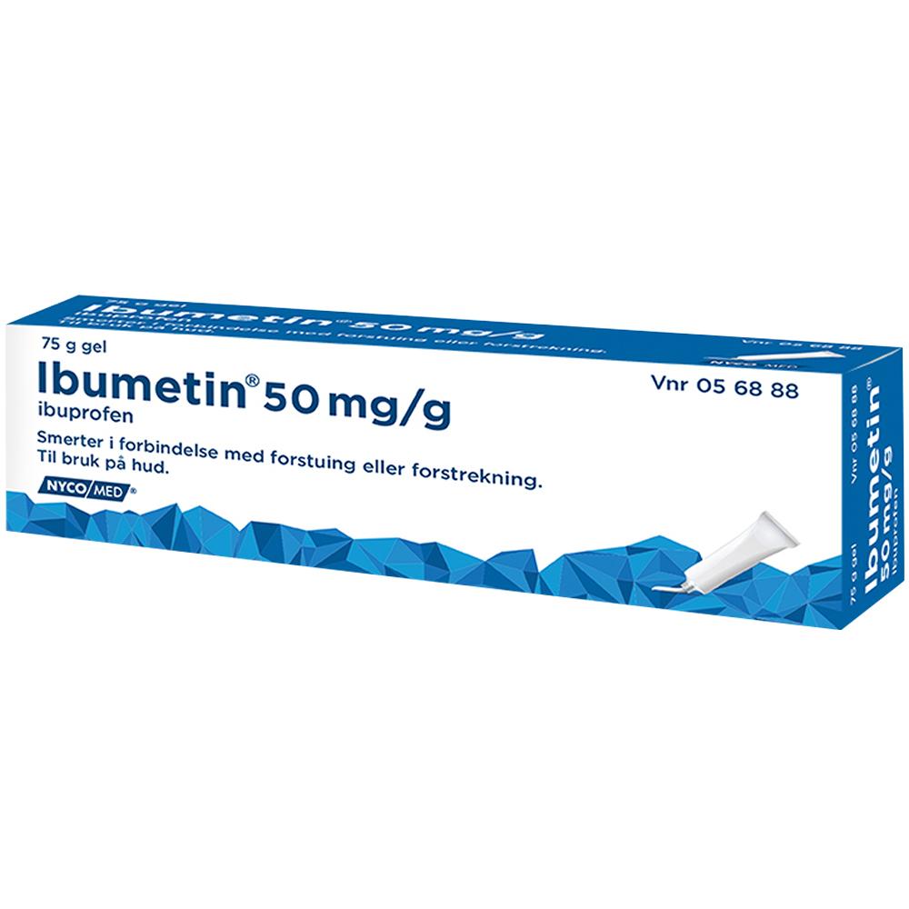 Ibumetin 5 % gel med ibuprofen som behandler betennelse og smerter lokalt på huden 76g, Apotekfordeg, 56888