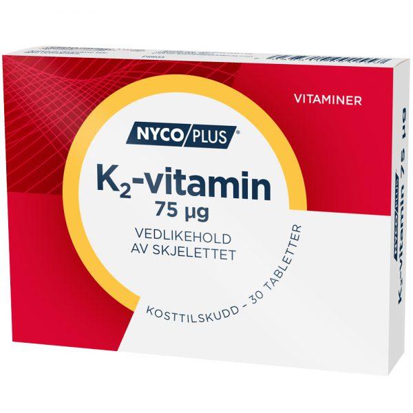 K2-vitamin kosttilskudd, vedlikehold av skjelett, liggende pakning, Apotekfordeg, 806627