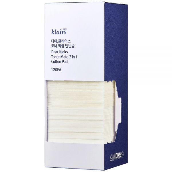 Klairs Toner Mate 2in1 Cotton Pad 120 stk, to typer bomullspads som eksfolierer og optimaliserer fuktpleien, apotekfordeg, 808039