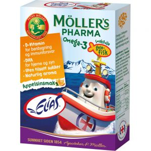 Møllers Pharma Omega-3 Gelefisk Appelsinsmak 36 stk, ApotekForDeg, 964904