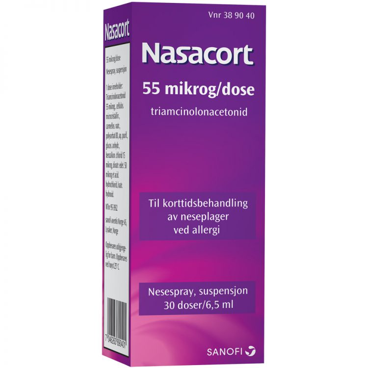 Nasacort nesespray til korttidsbehandling av neseplager og allergi, Apotekfordeg, 389040