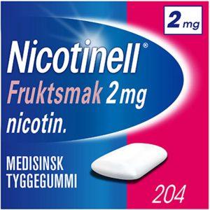 Nicotinell tyggegummi 2mg med fruktsmak, 204stk, ApotekForDeg, 8328