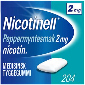 Nicotinell tyggegummi 2mg med peppermyntesmak, 204stk, ApotekForDeg, 8339