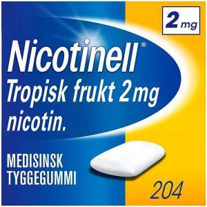 Nicotinell tyggegummi 2mg tropisk frukt, 204stk, ApotekForDeg, 110926