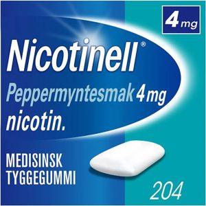 Nicotinell tyggegummi 4mg med peppermyntesmak, 204stk, ApotekForDeg, 394262