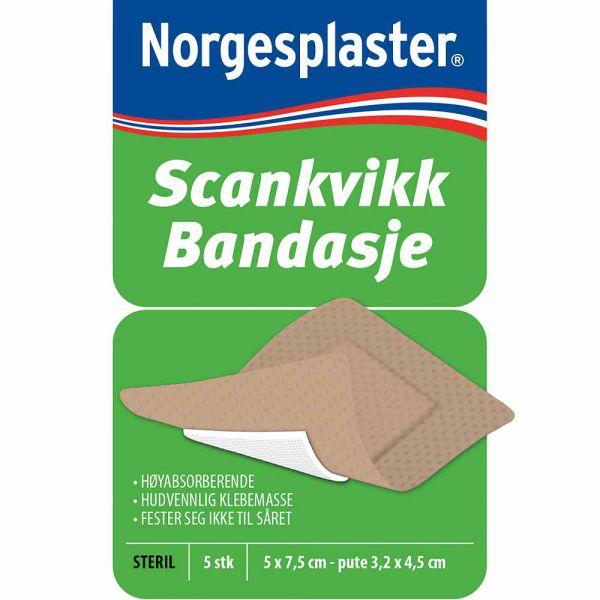 Norgesplaster Scankvikk Beige Bandasje 5 x 7,5 cm 5 stk, ApotekForDeg, 966975
