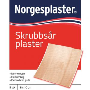 Norgesplaster Skrubbsår 8 x 10 cm 5 stk, ApotekForDeg, 805036