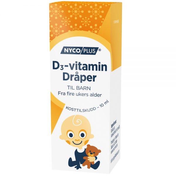 Nycoplus D3-vitamin dråper kosttilskudd til barn, Apotekfordeg, 986281