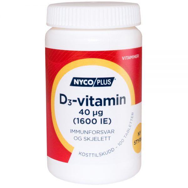 Nycoplus D3-vitamin kosttilskudd immunforsvar og skjelett, apotekfordeg, 995376