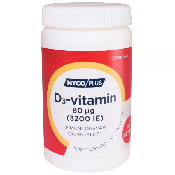 Nycoplus D3-vitamin kosttilskudd mot immunforsvar og skjelett, Apotekfordeg, 947950