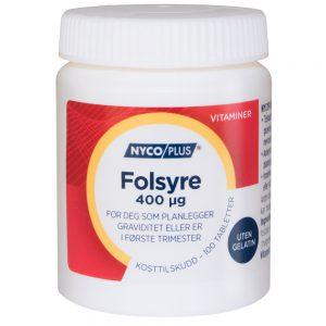Nycoplus Folsyre kosttilskudd for deg som planlegger graviditet eller er i første trimester, Apotekfordeg, 994649