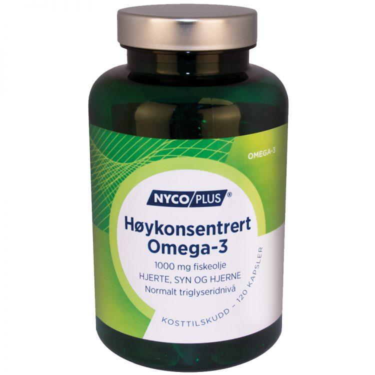 Nycoplus Høykonsentrert Omega-3 kosttilskudd mot hjerte, syn og hjerne, Apotekfordeg, 903527