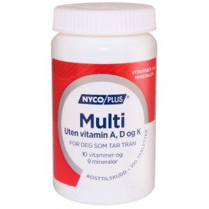 Nycoplus Multi uten vitamin A, A og K kosttilskudd for deg som tar tran, Apotekfordeg, 915202