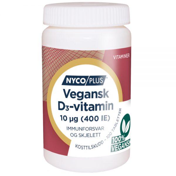 Nycoplus Vegansk D3-vitamin kosttilskudd for immunforsvar og skjelett, Apotekfordeg, 815544