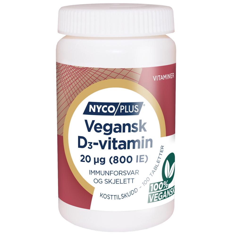 Nycoplus Vegansk D3-vitamin kosttilskudd mot immunforsvar og skjelett, Apotekfordeg, 932028