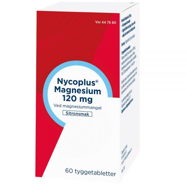 Nycoplus magnesium 120 mg tyggetabletter i pakning, Apotekfordeg, 447680