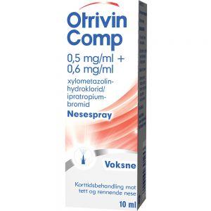 Otrivin Comp 0,5:0,6 mg:ml Nesespray 10 ml - mot tett og rennende nese, Apotekfordeg, 39125