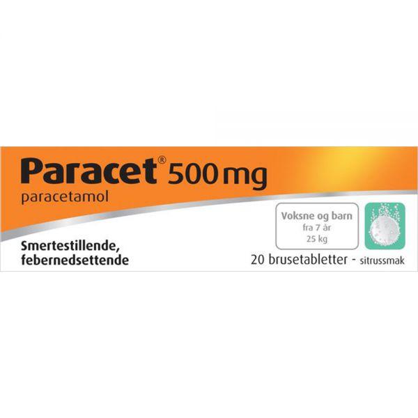 Paracet Brusetabletter 500 mg 20 stk, Apotekfordeg, 489492